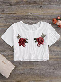 Floral Patches Ribbed Crop Top - Milk White L