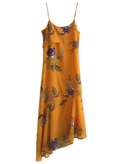 Floral Asymmetric Slip Dress - Deep Yellow S