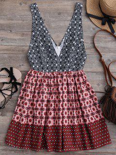 Plunging Neck Printed Mini Dress - Multicolor L