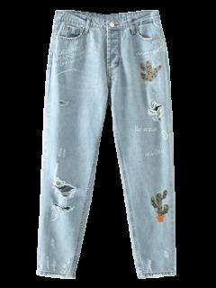 Jeans Déchiré Brodé à Cactus - Bleu Clair S