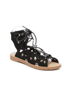 Slingback Metallic Lace Up Cut Out Sandals - Black 40