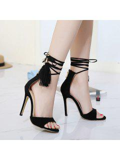 Mini Heel Tassels Sandals - Black 38