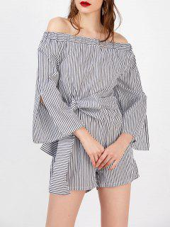 Off The Shoulder Tie Belt Striped Romper - Stripe S