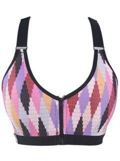 Zipper Colorful Print Sport Bra - Pink Xl