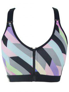 Zipper Colorful Print Sport Bra - Green S