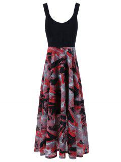 Plus Size Tie Dye Midi Casual Flower Dress - Red With Black 5xl