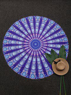 Round Mandala Print Beach Throw - Purple