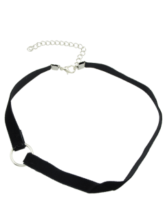 Velvet Alloy Circle Choker - Black