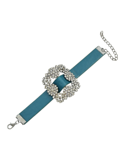 Rhinestone Faux Leather Flower Bracelet - Blue
