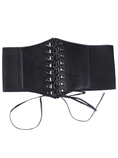Criss Cross Lace Up Corset Belt - Black