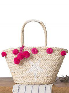 Star Print Pom Pom Straw Shoulder Bag - Rose Red