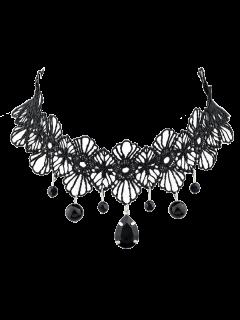 Crochet Lace Floral Pendant Choker - Black