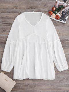 Long Sleeve Flowy Beach Coverup Dress - White Xl