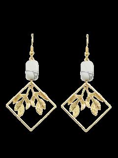 Artificial Rammel Geometric Leaf Earrings - Golden