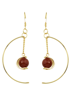 Faux Gem Bead Chain Circle Earrings - Red