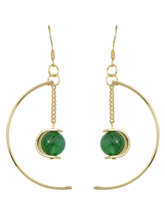 Faux Gem Bead Chain Circle Earrings - Green