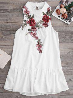 Patches Frill Hem Mini Dress - White L