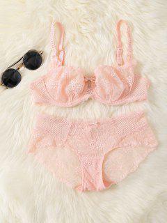 Bowknot Lace Underwire Bra Set - Pink 85b