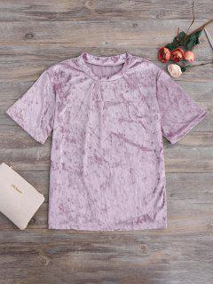 Crushed Velvet Mock Neck Tee - Pinkish Purple M