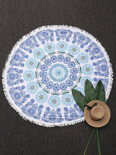 Couverture De Plage Ronde Frangée Imprimée Mandala - Bleu