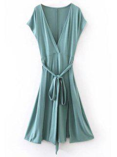 Belted Plunging Neck Slit Dress - Blue Green M