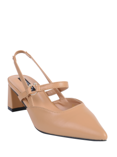 Pointed Toe Chunky Heel Slingback Pumps - Apricot 37