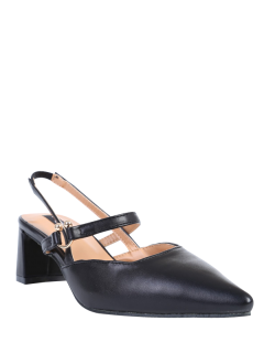 Pointed Toe Chunky Heel Slingback Pumps - Black 39