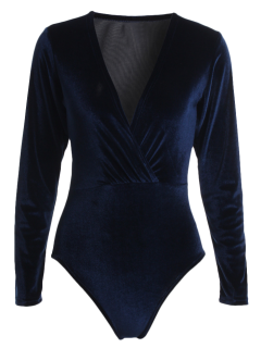 Long Sleeve Velvet Bodysuit - Cadetblue S