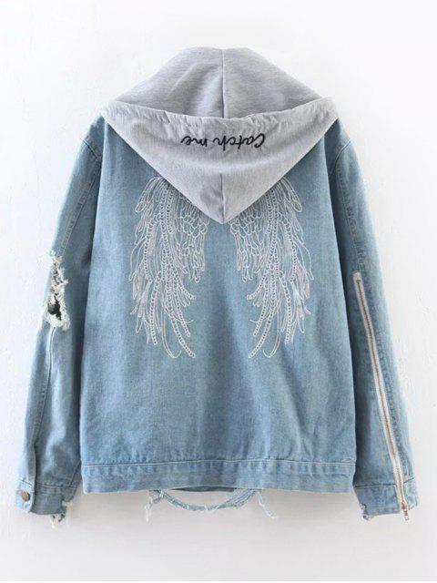 outfit Embroidered Ripped Denim Jacket with Hoodie - DENIM BLUE M Mobile