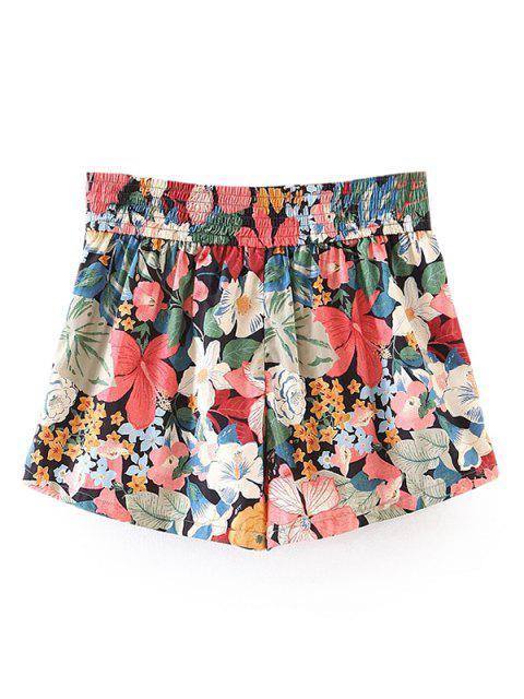 buy Button Embellished Tropical Floral Shorts - FLORAL L Mobile