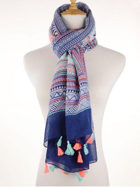 Écharpe frangée imprimée de motif géométrique à style Bohême - Bleu  Mobile