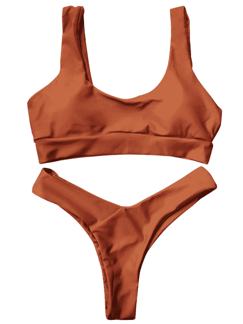 outfits U Neck Bralette Thong Bikini Set - BROWN L Mobile