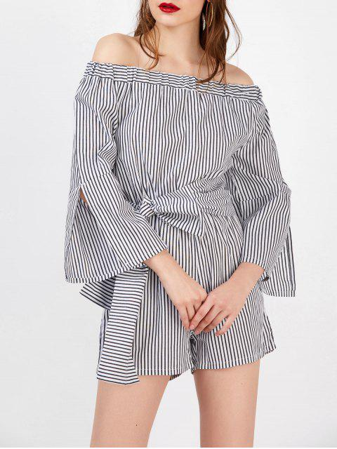 Off The Shoulder rayé Belted Romper - Rayure XL Mobile
