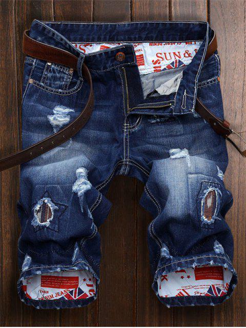 sale Patch Embellished Ripped Denim Jean Shorts - DENIM BLUE 30 Mobile