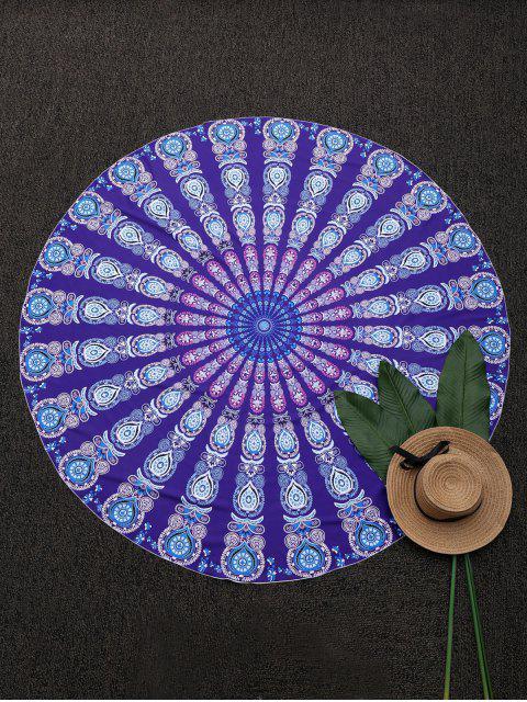 fancy Round Mandala Print Beach Throw - PURPLE ONE SIZE Mobile