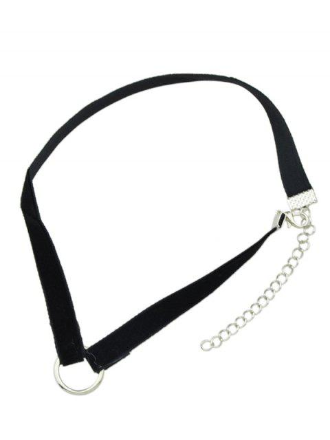 chic Velvet Alloy Circle Choker - BLACK  Mobile
