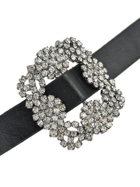 unique Rhinestone Faux Leather Flower Bracelet - BLACK  Mobile
