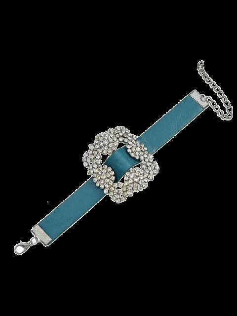 fancy Rhinestone Faux Leather Flower Bracelet - BLUE  Mobile