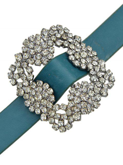 Bracelet en PU cuir avec fleur de strass - Bleu  Mobile