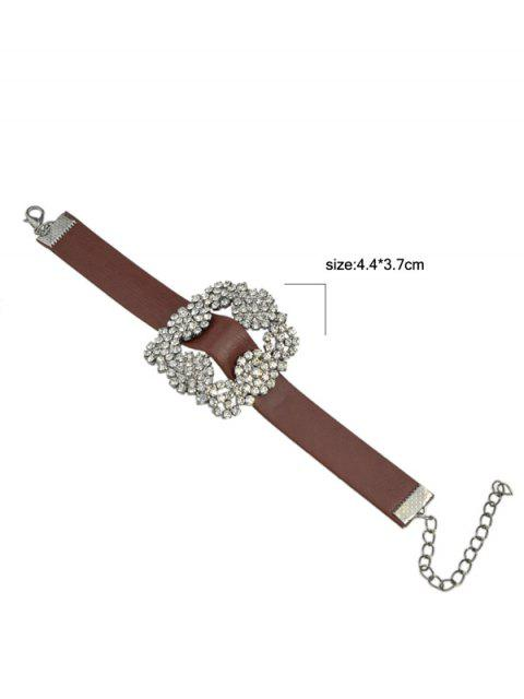 outfit Rhinestone Faux Leather Flower Bracelet - BROWN  Mobile