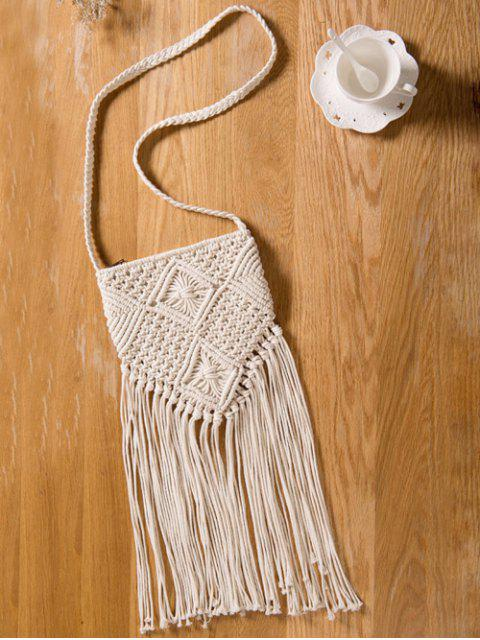 online Fringe Crochet Crossbody Bag - OFF-WHITE  Mobile