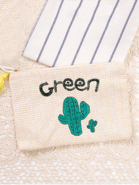 women's Cactus Embroidered Straw Clutch Bag - WHITE  Mobile