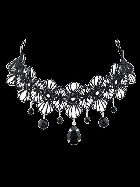 shops Crochet Lace Floral Pendant Choker - BLACK  Mobile