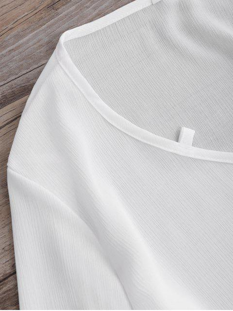 lady Long Sleeve Flowy Beach Coverup Dress - WHITE L Mobile