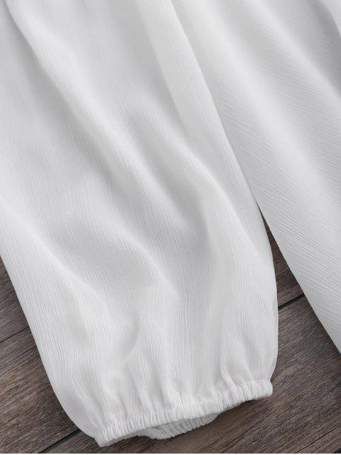 best Long Sleeve Flowy Beach Coverup Dress - WHITE XL Mobile