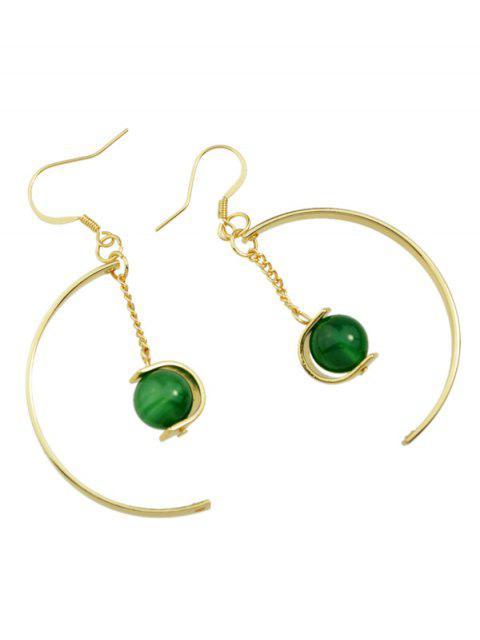 women Faux Gem Bead Chain Circle Earrings - GREEN  Mobile