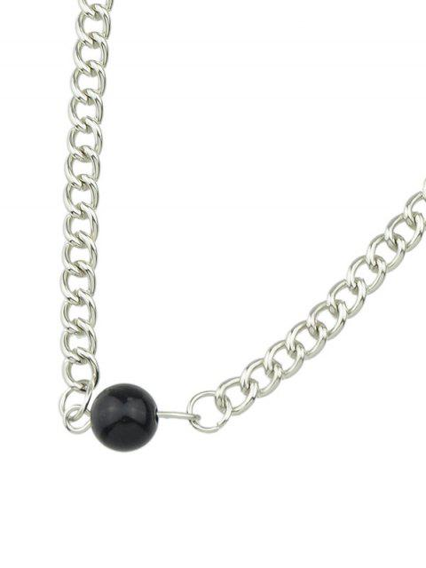 shop Beaded Link Chain Choker - SILVER  Mobile