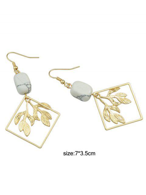 Boucles d'oreilles géométriques en émail ornées de feuilles - Or  Mobile