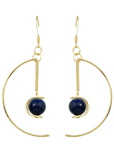 women's Faux Gem Bead Chain Circle Earrings - BLUE  Mobile