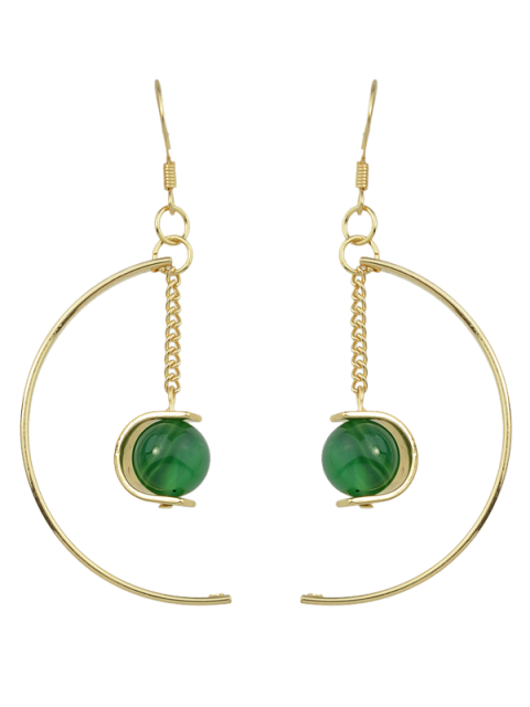 Boucles d'oreilles de perles articielles - Vert  Mobile